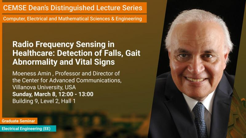KAUST CEMSE Dean's Distinguished Lecture EE Graduate Seminar Moeness Amin Radio Frequency Sensing in Healthcare: Detection of Falls, Gait Abnormality and Vital Signs