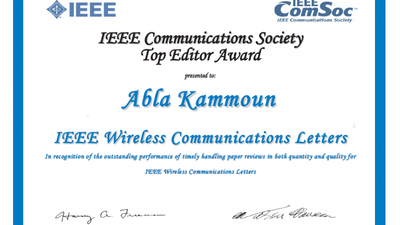 KAUST CEMSE Abla Kammoun Receives IEEE Wireless Communication Letters Award