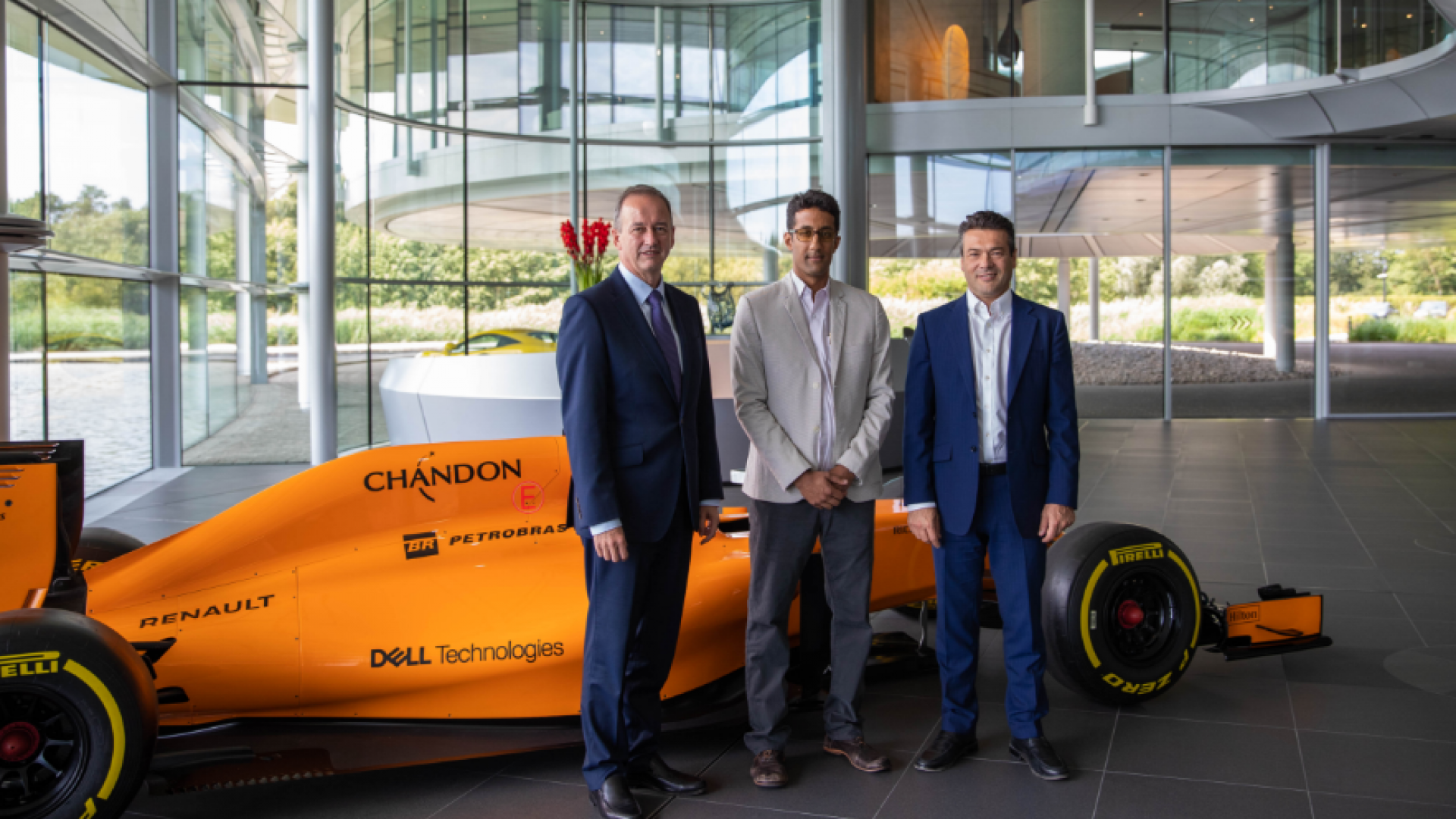 (From left to right:) Jonathan Neale, chief operations officer of McLaren Group; Mani Sarathy, KAUST associate director of the University's Clean Combustion Research Center; and John Cooper, chief business officer of McLaren Racing. McLaren Racing and KAUST recently signed a five-year R&D agreement. File photo.