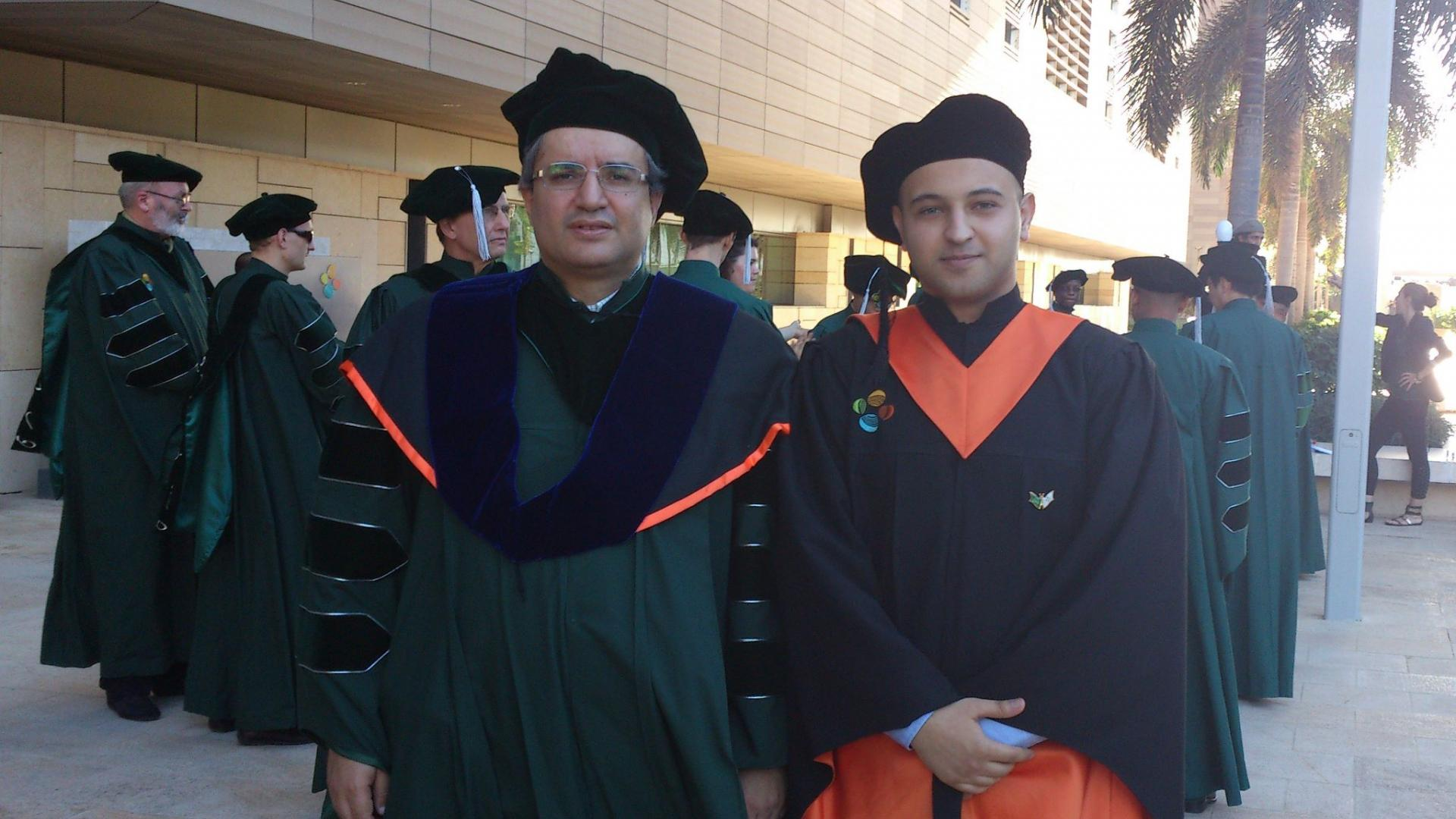 Ahmad M. Al-Sharoa With Professor Slim-Alouini On His Graduation