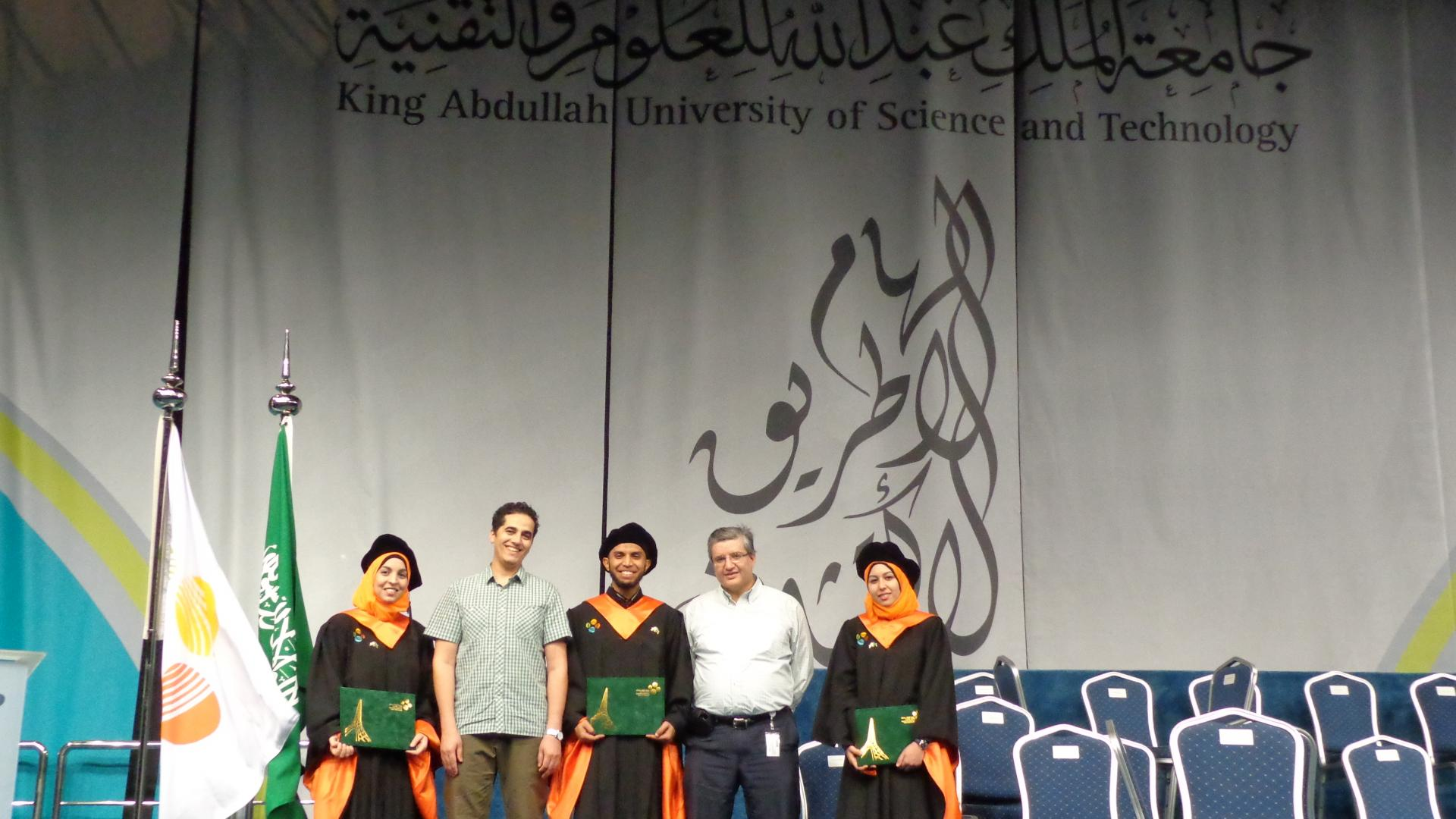Amal Hyadi, Lokman Sboui and Fatma Benkhelifa With Professor Slim-Alouini and Zouheir Rezki On Their Graduation
