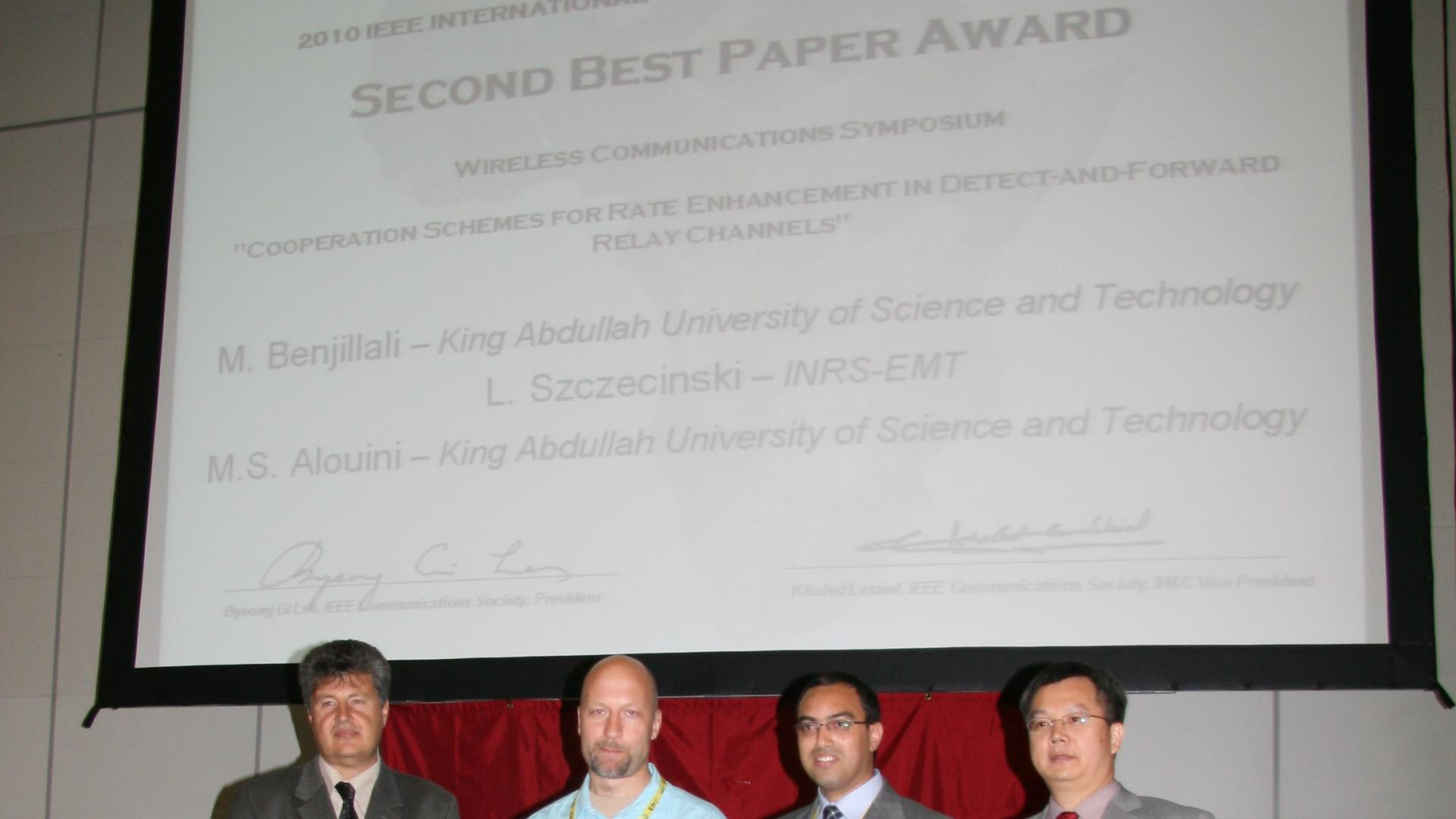 Mustapha Benjillali Receiving Second Best Paper Award at ICC 2010 (May 2010)