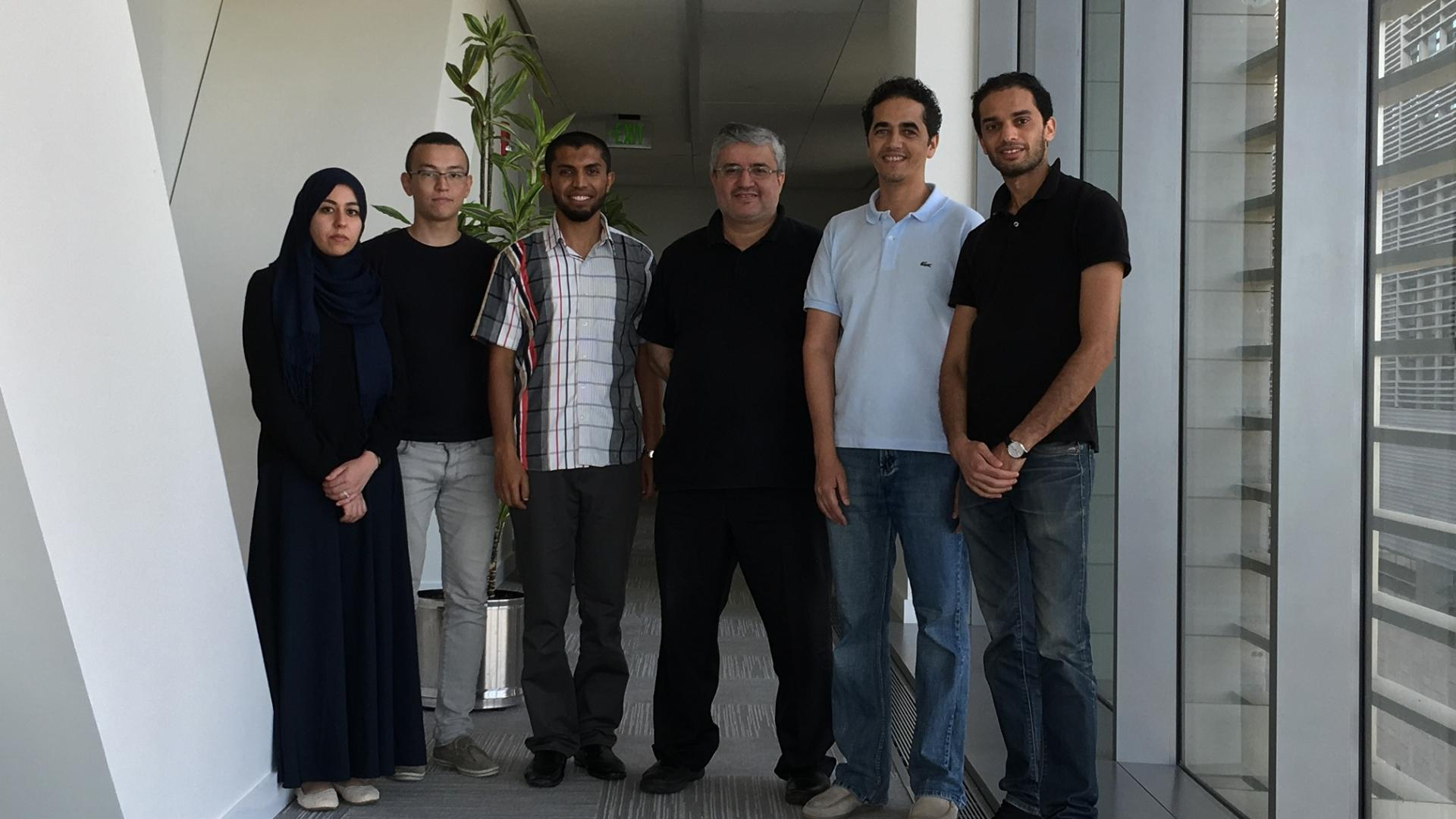 Professor Alouini with CTL members; from right lo left: Mohamed Ridha Znaidi | Dr. Zouheir Rezki | Prof. Alouini | Lokman Sboui | Yerzhan Sapenov | Amal Hyadi