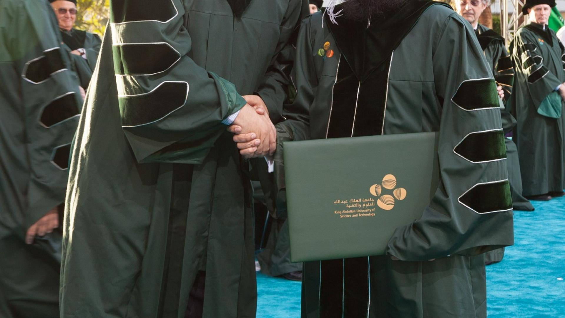 Professor Alouini with Fahd Khan during graduation ceremony
