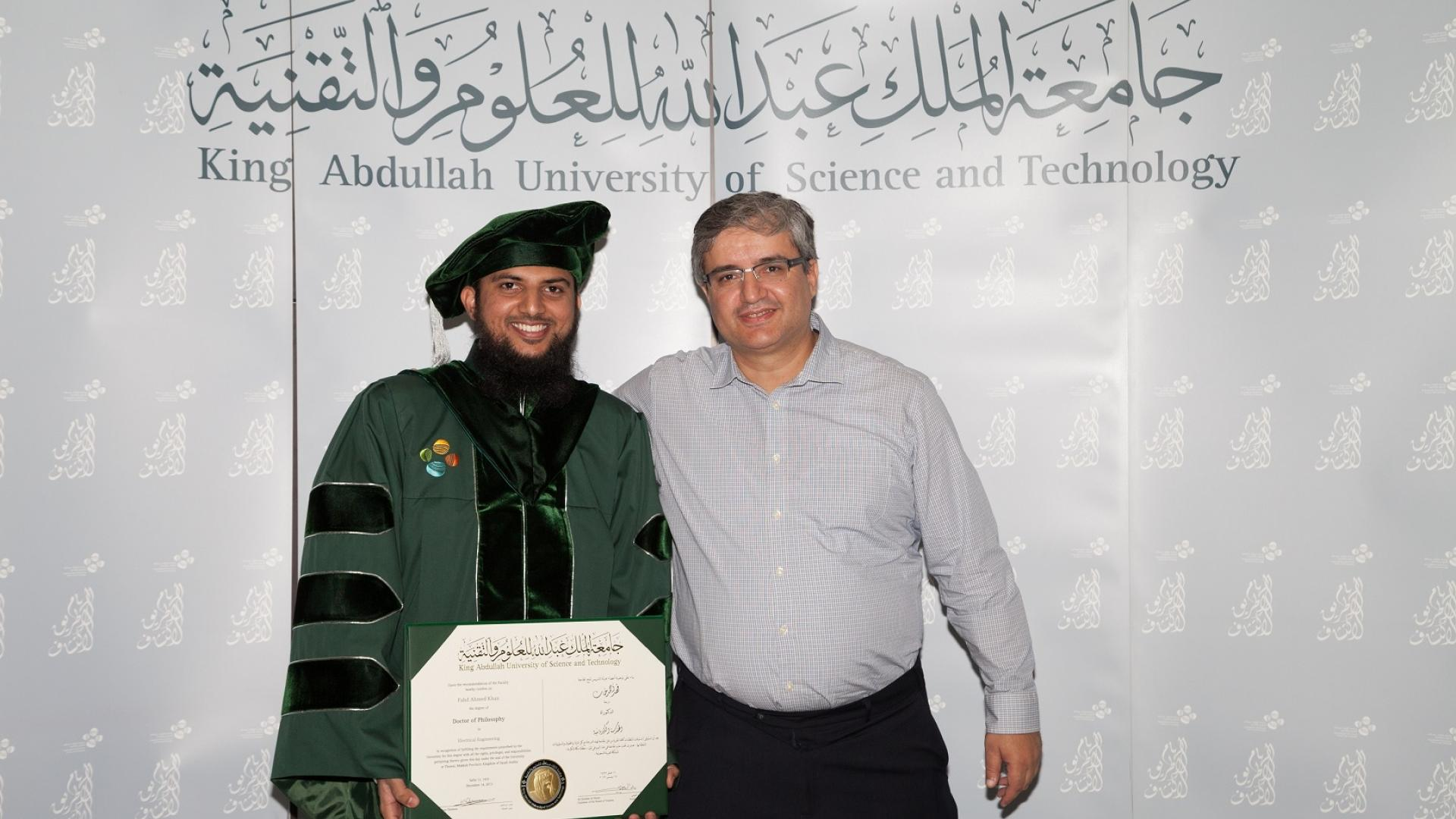 Professor Alouini with Fahd Khan during graduation ceremony2