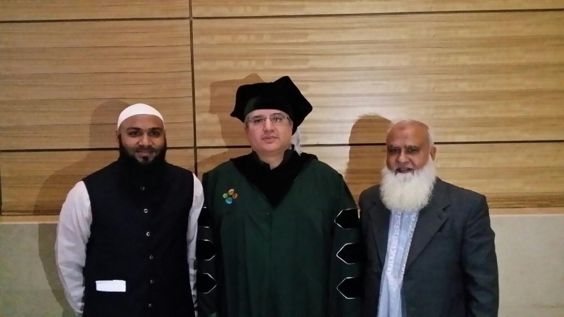 Professor Alouini with Imran Ansari and his father during graduation ceremony