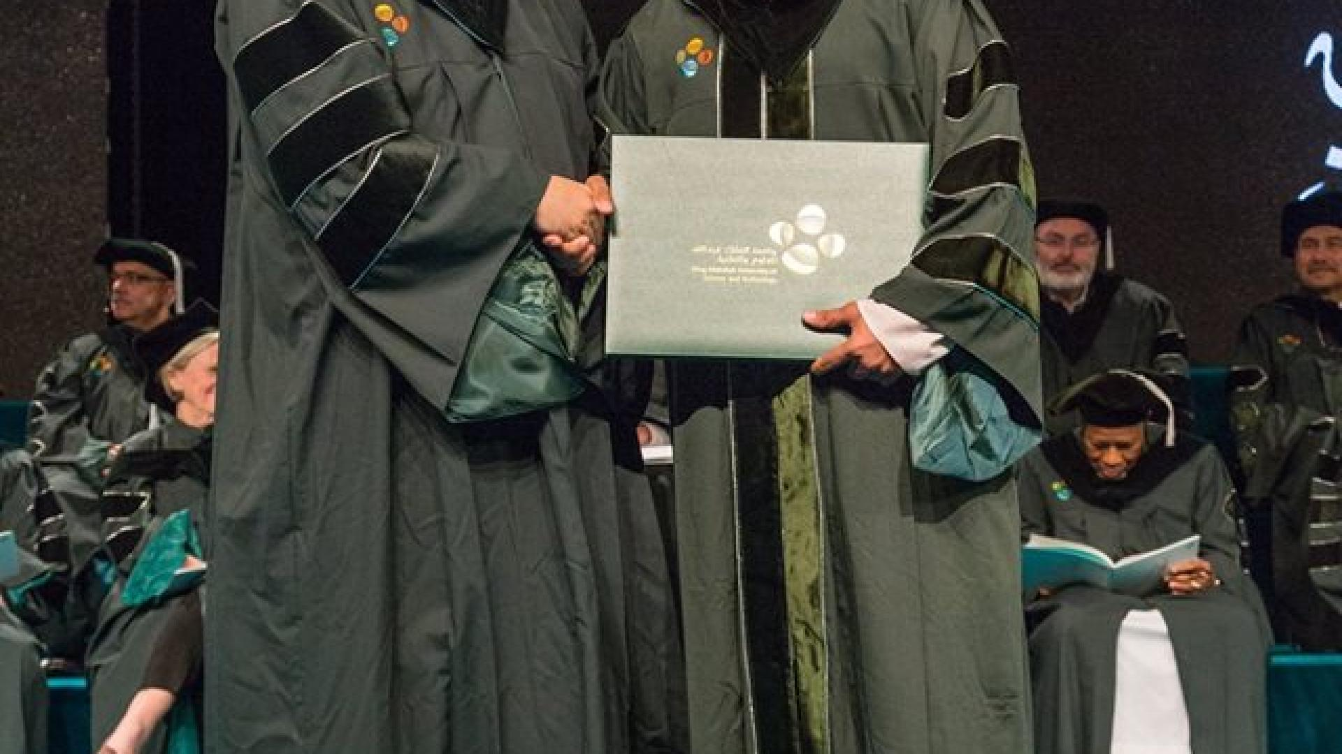 Professor Alouini with Imran Ansari during graduation ceremony