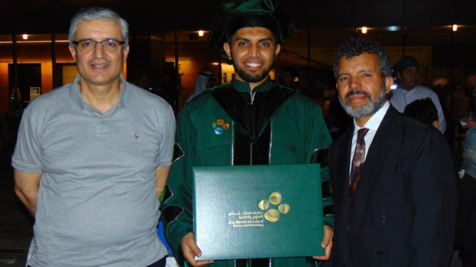 Professor Alouini with Lokman Sboui and his father during graduation ceremony
