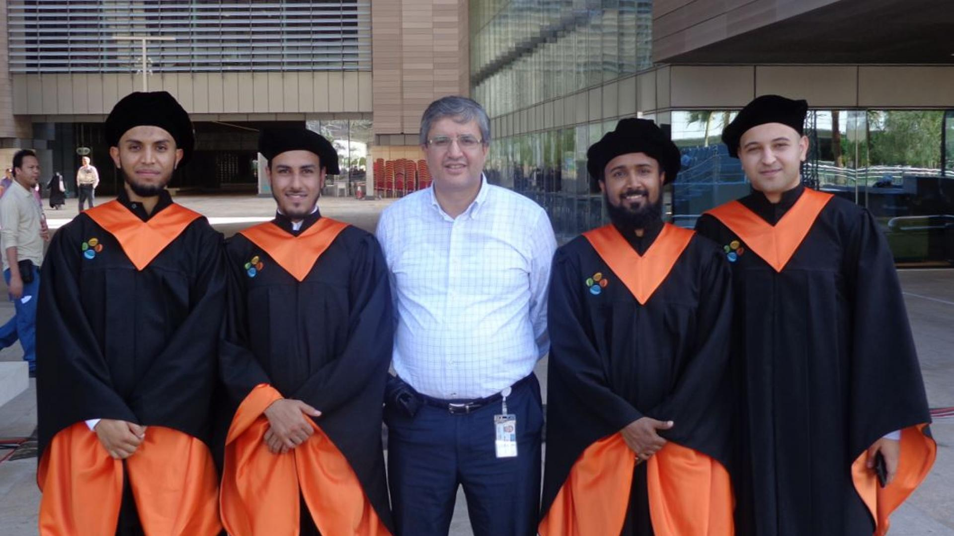 Professor Alouini with Master Students; Lokman Sboui, Abdullatif Rabah, Hussain Shibli and Ahmad AlSharoa during graduation ceremony Dec 2012