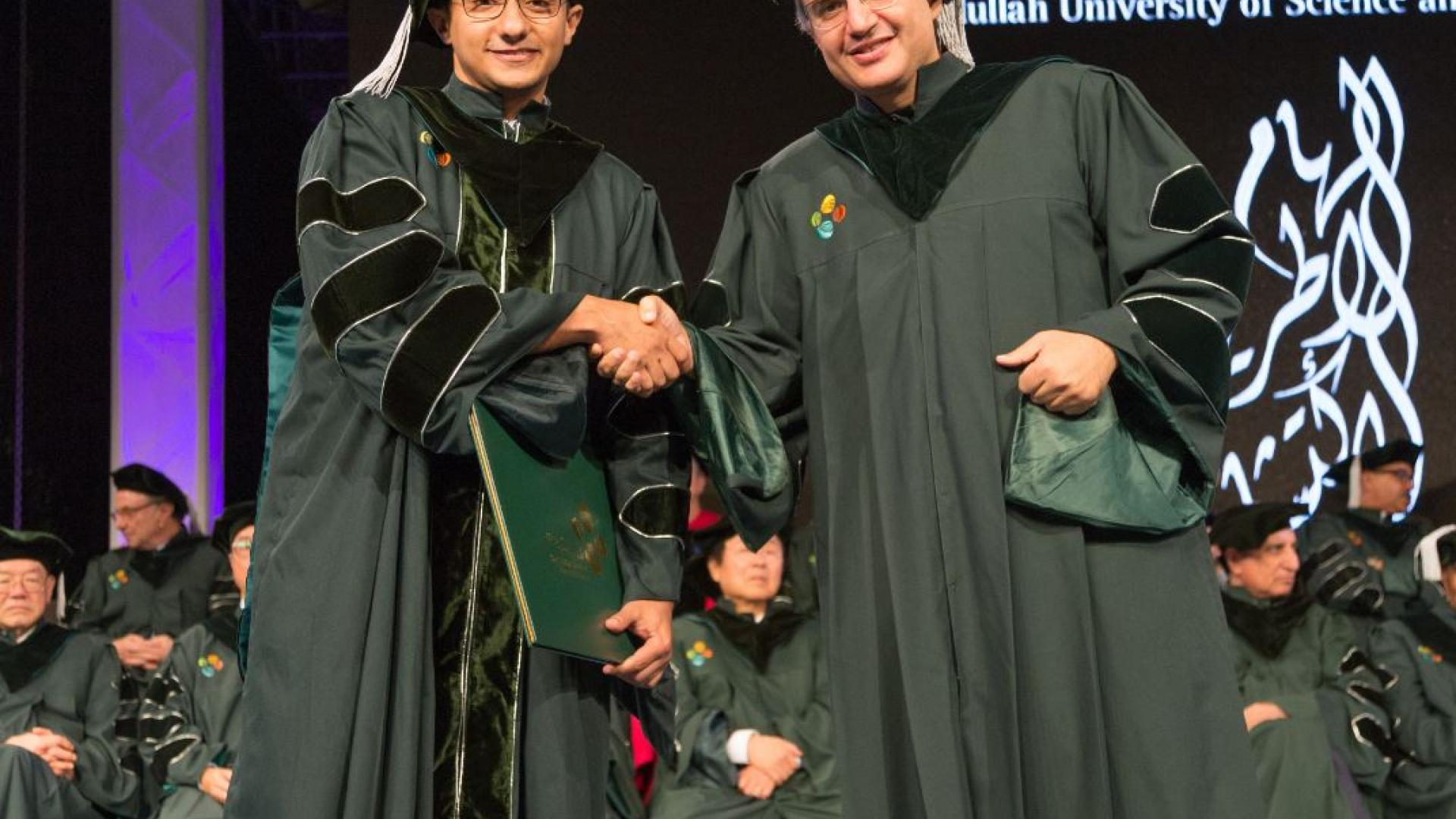 Professor Alouini with Mohammad Galal Khafagy during graduation ceremony-Dec 2016