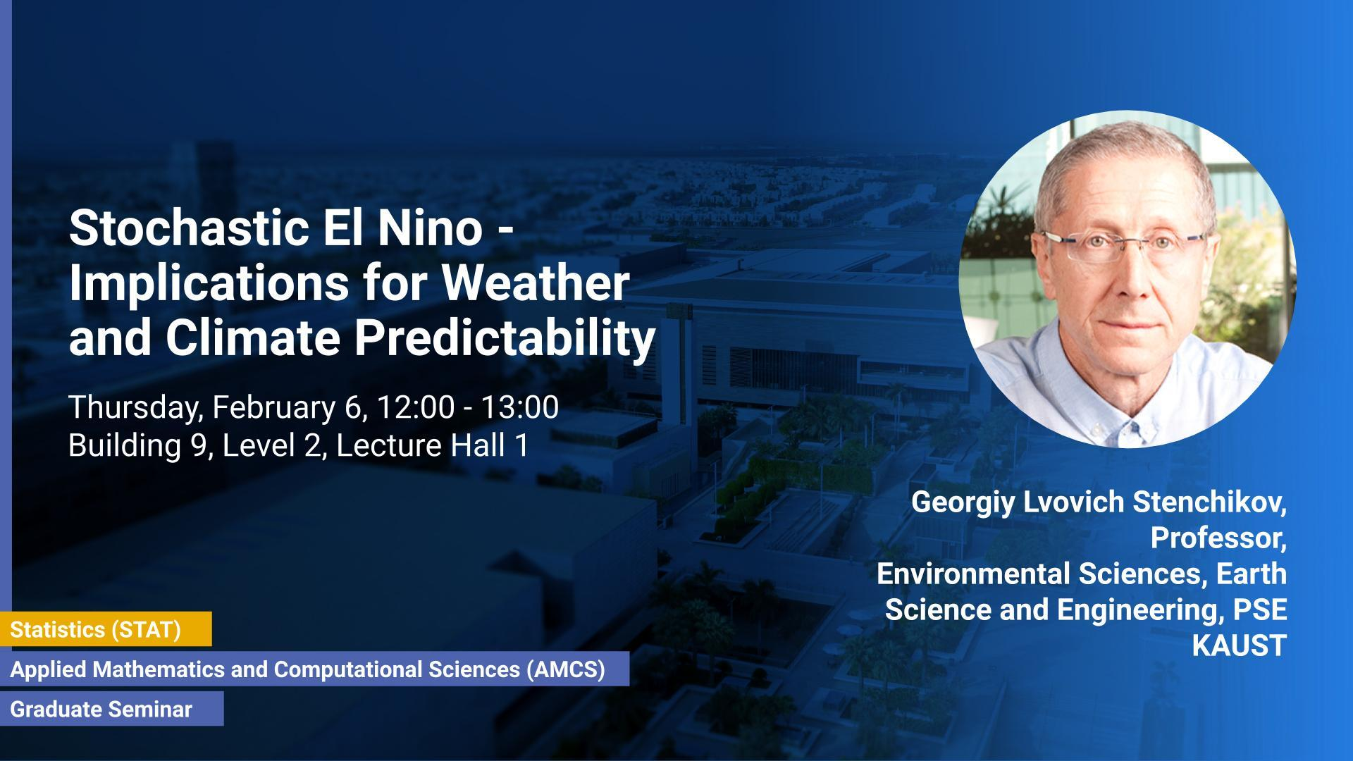 KAUST CEMSE AMCS STAT Graduate Seminar Georgiy Lvovich Stenchikov Implications for Weather and Climate Predictability