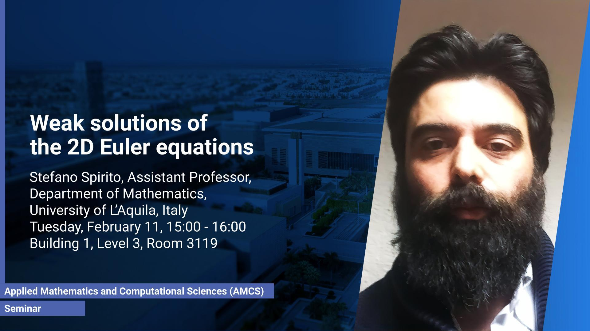 KAUST CEMSE AMCS Seminar Stefano Spirito weak solutions of 2d euler equations