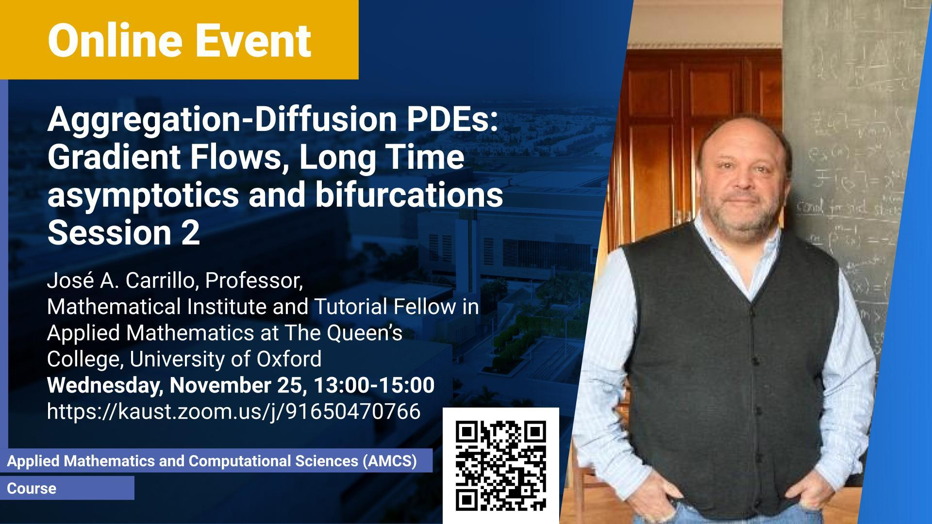 KAUST CEMSE AMCS Jose Carrillo Aggregation Diffusion PDEs Gradient Flows Long Time asymptotics and bifurcations Session 2