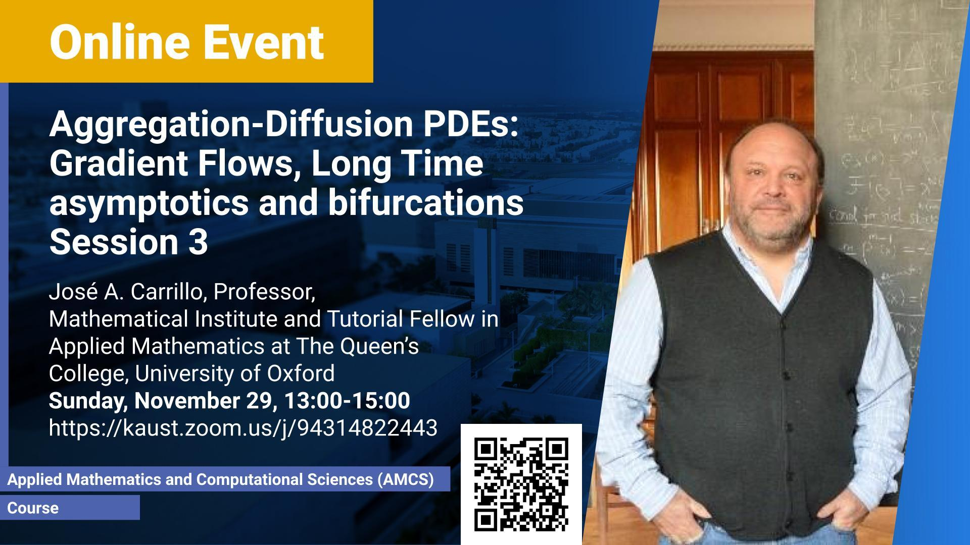 KAUST CEMSE AMCS Jose Carrillo Aggregation Diffusion PDEs Gradient Flows Long Time asymptotics and bifurcations Session 3