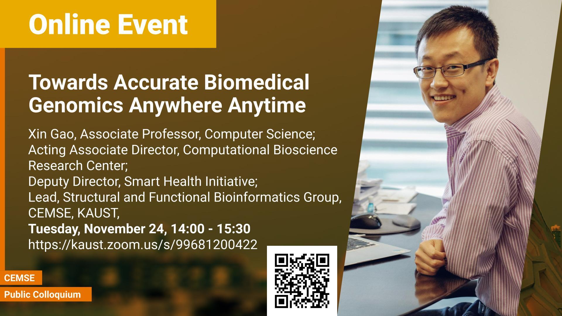 KAUST CEMSE Xin Gao Towards Accurate Biomedical Genomics Anywhere Anytime